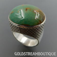 DESIGNER ST STERLING SILVER GREEN TURQUOISE GRID DESIGN SETTING RING (6.75) 1814