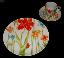 TIVOLI Fine Japan China by TOSCANY ~ Set of 6 TEA CUPS with LUNCHEON PLATES