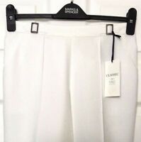 White Ladies Trousers / M&S Classic Pull On Tapered Leg 8 BNWT / Marks Women