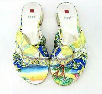Högl Damen Schuhe Pantoletten Sandalen Größe 37 Leder Satin Bunt Np 140 Neu