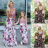 Family Matching Cloth Women Girl Mother and Daughter Floral Dress Outfits Skirt