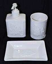 3 piece ceramic bathroom set White botanical motif