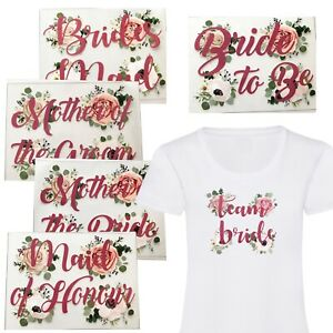 A5 FLORAL ROSE GOLD TEAM BRIDE HEN PARTY TRIBE IRON ON VINYL T SHIRT TRANSFER
