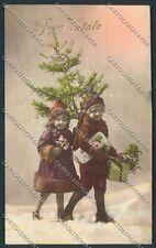 Children Christmas Tree foto Augurale cartolina E3565 SZL