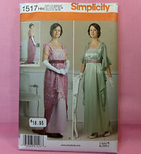 Simplicity 1517 Historical Empire Layered Gown Dress Costume Pattern sz 6-12 New