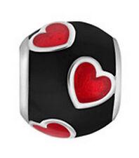 LOVELINKS BY PASTICHE  BLACK ENAMEL RED HEARTS  IN SILVER  TE024BKRD MINT
