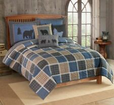 Patchwork Plaid Bear Square Quilted Bedding Quilt & Shams True Grit King Size