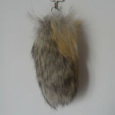 Real Natural Animal Golden Fox Tail Fur Keychain Tassel Bag Tag Charm 25cm/10""