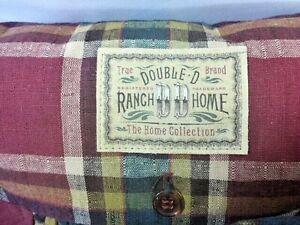 "DOUBLE D Ranch  HOME PLAID Ruffled button designer ACCENT PILLOW's (2) pair 11"""