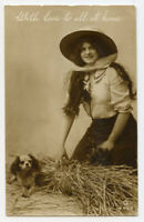 1910s Glamour PRETTY LADY w/ King Charles Spaniel Dog photo postcard