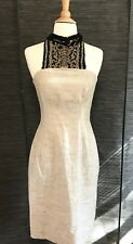 THIERRY MUGLER Beaded Silver Linen Metallic Embellished Halter Dress Sz 40 RARE
