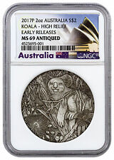 Koala High Relief 2 oz. Silver Antiqued $2 2017-P Australia NGC MS69 ER SKU45825