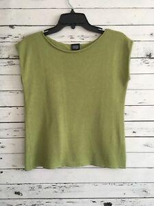 EILEEN FISHER Women's Top Blouse Knit Short Sleeve Green Size S