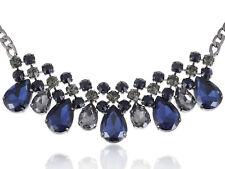 Black Tone Blue Faux Diamond Bead Transparent Rhinestone Collar Necklace Gift
