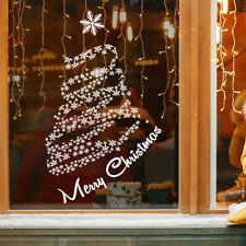 Christmas Tree Window Sticker | Merry Christmas Window Decorations - Snow Storm