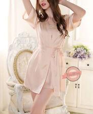Faux Silk Patternless Lingerie & Nightwear for Women
