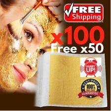 X100 sheet free x50 24K 4.5x4.5 Realgold LEAF ANTI AGING  FACIAL SPA MASK EDIBLE