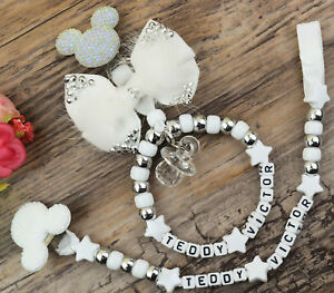 Set of two Personalised dummy clip  Pram charm white for car seat pushchair bag