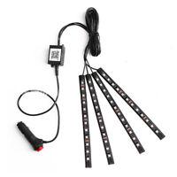4 X RGB LED Car Interior Neon Atmosphere Strip Decor Light Music Remote Control