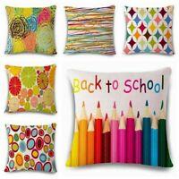 Chromatic Geometry Cotton Linen Pillow Case Cushion Cover Sofa Home Decor 18inch