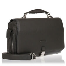 PIQUADRO New Man Gray Tumbled Leather MODUS Expandable PC Briefcase Attache Bag