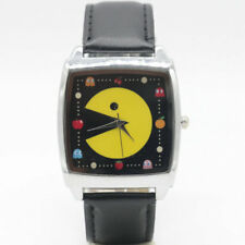 Pac-Man Cultural Iconic Symbol Black Square Genuine Leather Band Wristwatch