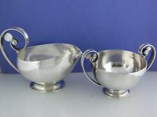 Rare Sterling GEORG JENSEN Creamer / Sauce Boat & Sugar Bowl Johan Rohde Denmark