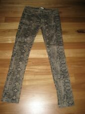 LADIES CUTE BROWN PATTERNED POLYCOTTON SKINNY LEG PANTS BY VALLEY GIRL - SIZE 12