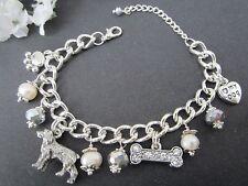 Irish Setter Springer Spaniel Dog Charm Bracelet with Freshwater Pearls
