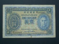*** escaso Hong Kong $1 'AVF' Década de 1940 billete ***