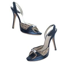 CHRISTIAN DIOR size 38.5 Sandals 120 Monogam Black Wood Heels Open Toe