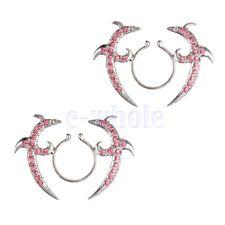 Nipple Shield Ring non pierce Pink CZ Clip On Nipple Ring Tribal Floral Pair YG
