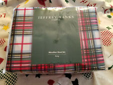 Jeffrey Banks Home ~ King ~ 4 piece Microfiber Sheet Set ~ Red Plaid