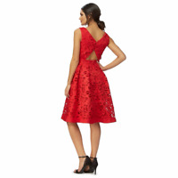 Chi Chi London  Red  V-neck Knee Length Prom Dress  10  14 Red