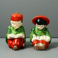 Vintage Asian Reading Couple Salt and Pepper Shakers