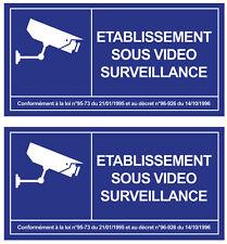 2 X ETABLISSEMENT SOUS VIDEO SURVEILLANCE ALARME CAMERA 12cm STICKER VA101