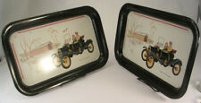 Pair Small Trays Decorated with 1910 Ford Torpedo, Cute Couple & Covered Bridge