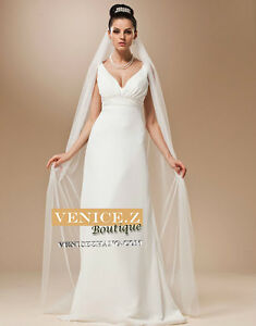 wv19 BNWT 2.5m Soft Tulle Cathedral Chapel Length Wedding Veil Comb White Ivory