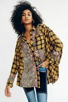 New Free People Fields Of Plaid Buttondown Oversize Shirt Brown, Large, RRP $168