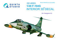Quinta QD48063 1/48 F-104G 3D-Printed & coloured interior (for Hasegawa kit)