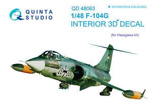 Quinta QD48063 1/48 F-104G 3D-Printed & coloured interior (for Hasegawa kit)