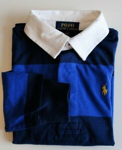 Boy Ralph Lauren Soft Cotton Navy & Purple Striped Rugby Shirt 6 years CLEARANCE