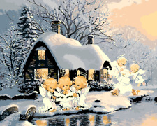DIY Art Paint By Numbers Kit Canvas 50*40cm 8073 Little Angels in Snow AU Stock