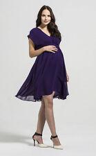 Rock-a-Bye Rosie Annabella Maternity Chiffon Pleat Front Tunic Dress Purple 8-18