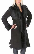 Ladies Sheepskin Coat 3/4 Length Long Toscana Shearling Suede Finish Black