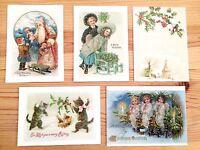 20 Vintage Antique Reproduction Christmas Postcards Santa Angels Cats Landscapes