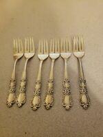 Vtg Lot of 6 1847 Rogers Bros Heritage Pattern Salad Forks Silverplate