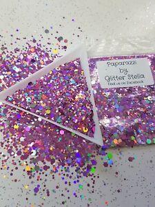 Nail Art Mixed Glitter ( Paparazzi ) 10g Bag Pink Holographic Chunky Bling