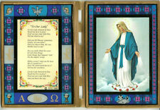 "Our Lady of Grace Stained Glass Prayer Plaque 10"" x 14"" Open  Beautiful!!"