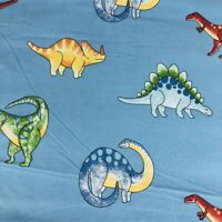 The Company Store Kids Full Size Cotton Flat Sheet Dinosaur Bedding Blue Dino